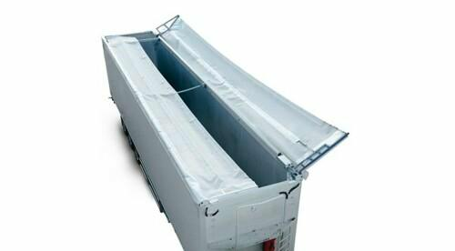 double winged hydraulic roof system with double-acting hydraulic rear door