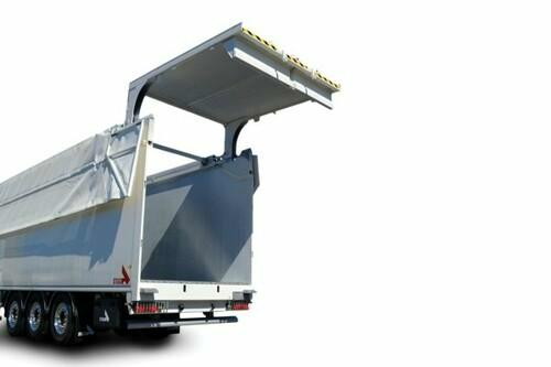 double-acting hydraulic rear door for moving floor trailer