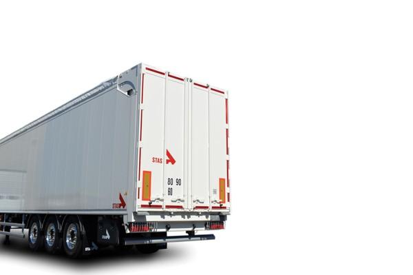 double-acting hydraulic rear door for moving floor trailer